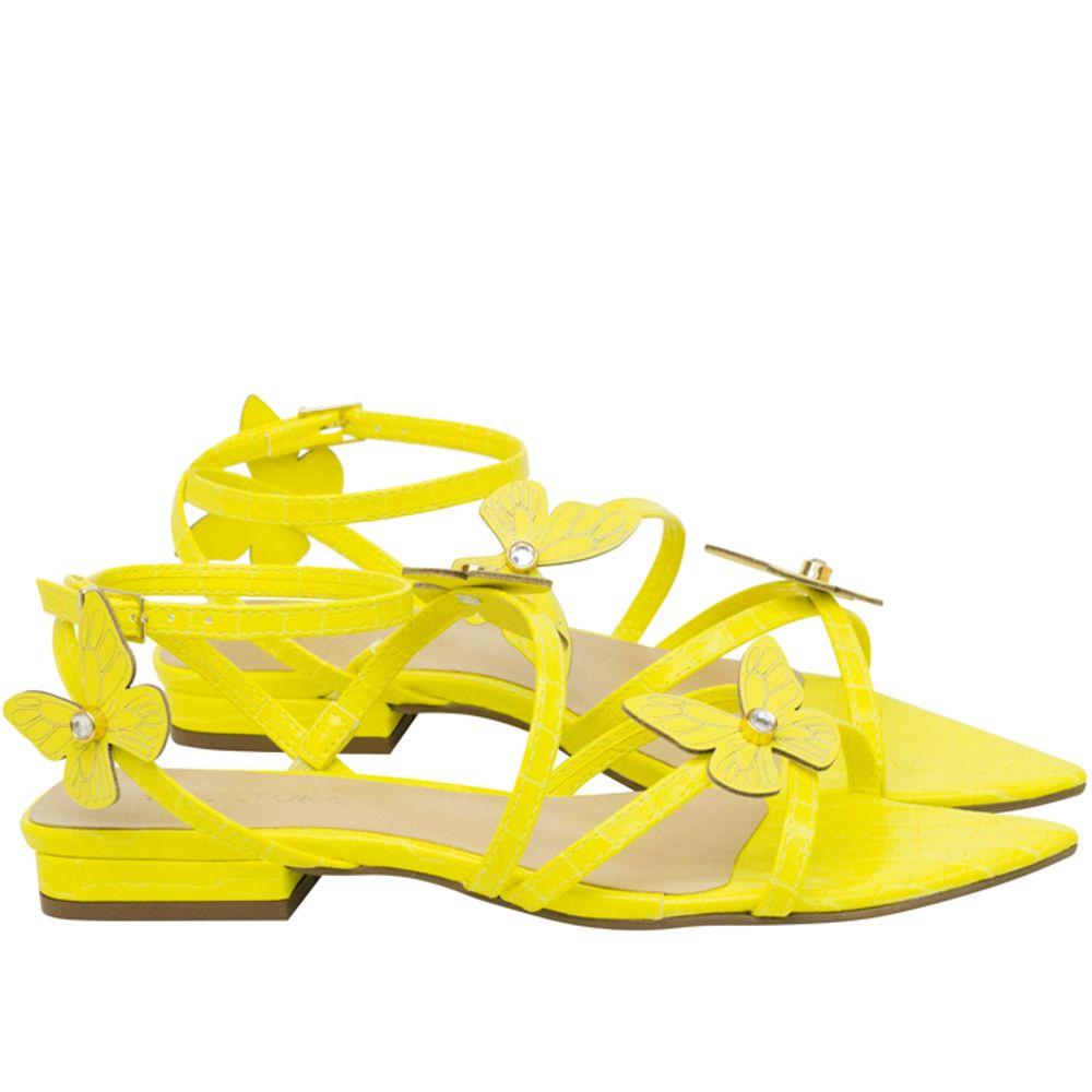 Rasteiras Saltare Butterfly Flat Amarelo 33